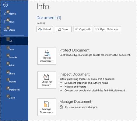 A Fájl menü billentyűparancsai a Windows Office-ban