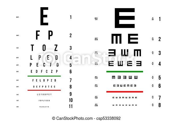 Vektor látás teszt táblázat. A szemvizsgálati táblázat A4-es nyomtatására - Szemüveg September